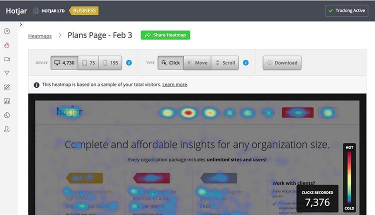 hotjar-heatmap | 14 Tips On How To Market A Business Online